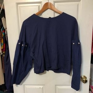 NEW Zara blue navy pearls balloon sleeves blouse